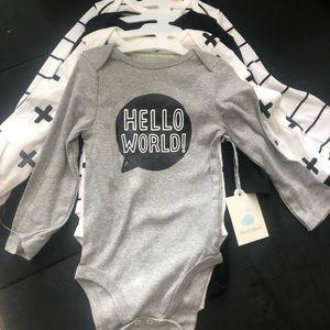 Baby Hello World 4 piece onesie 12M Grey